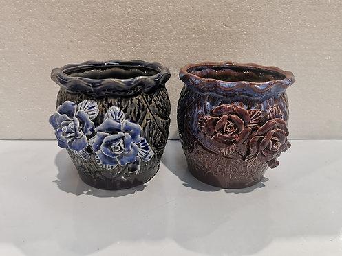 Pair 3D Flower Hand Painted Ceramic Succulents Pots Gloss Glaze #6