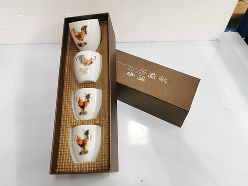 Traditional Chinese Tea Pot setting of 4pcs Roosters with Gift Box