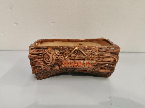 Rectangular Wooden style Hand Painted Ceramic Succulents Cacti Pot