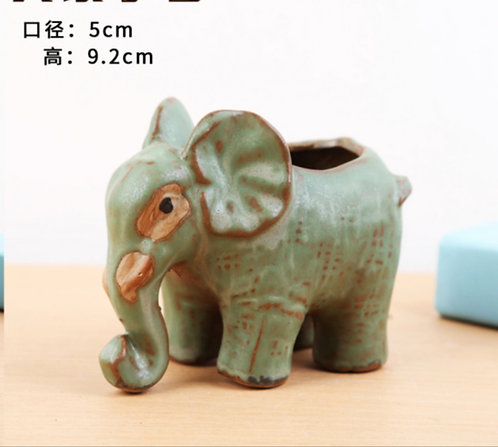 Animal Collection - Ceramic Succulents Pots Green Elephant 5x9.2cm
