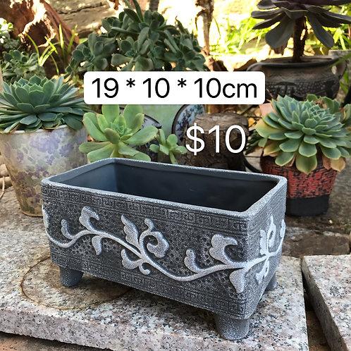 Acient Asian Rectangular Pot Grey