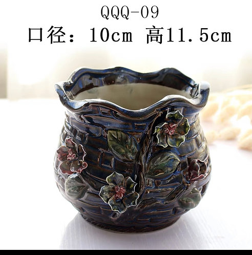 Gloss Glaze - 3D Flower Hand made Navy