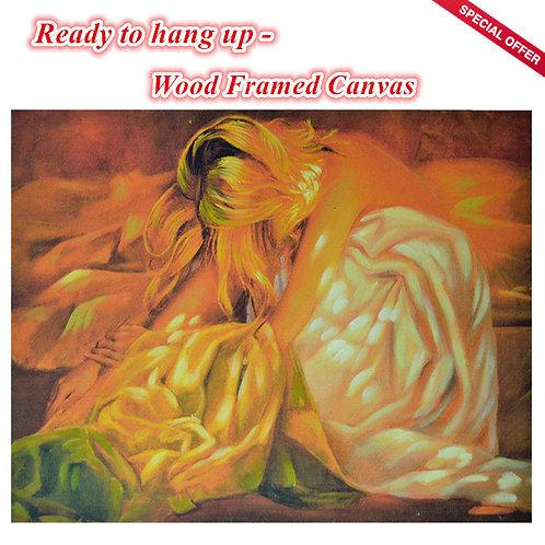 Wood Framed Oil Print Canvas Girl Lady
