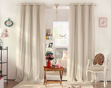 BLOCKOUT EYELET CURTAINS Light Beige Bridal Lace
