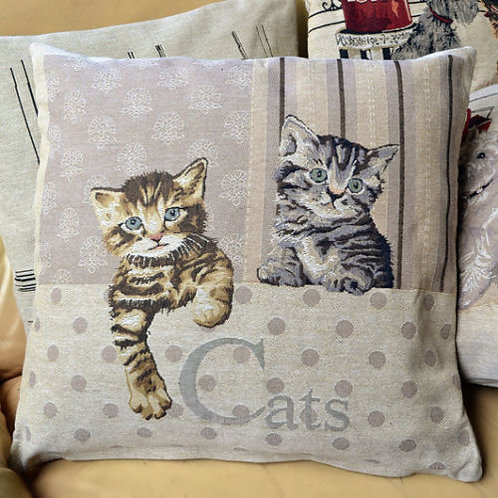 POLYESTER MIXED COTTON CUSHION COVER CAT