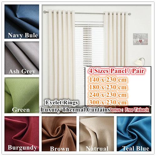 Linen Velvet Quality 70% Block out Curtains Pair
