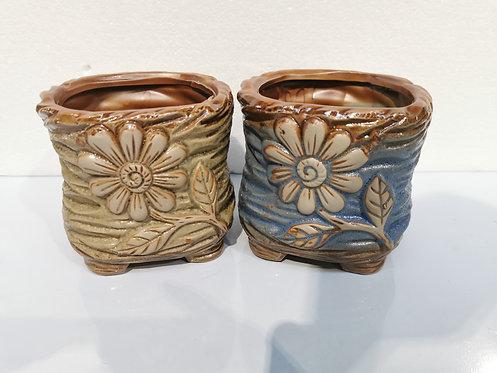Pair Hand Painted Ceramic Succulents Pots Vintage Flower #2