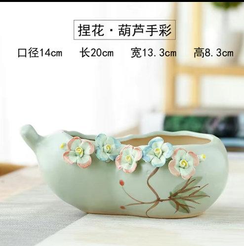 3D Flower Gloss Glaze Square Succulent / Cacti Pots 011 Green Ladle