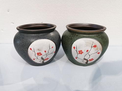 Pair Medium Size Round Ceramic Succulents Pots Sakura