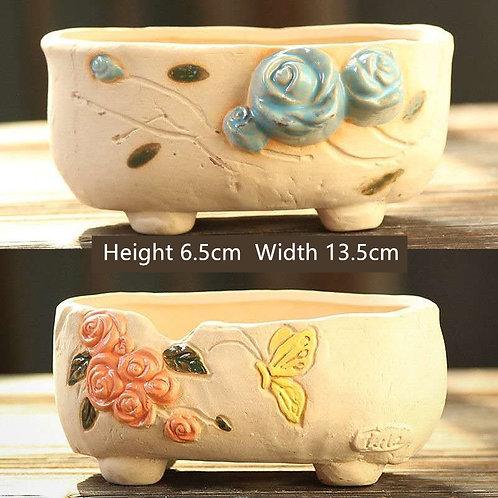 Pair Cactus Succulent Pots Ceramic Flower Plant pots Garden Handmade painted
