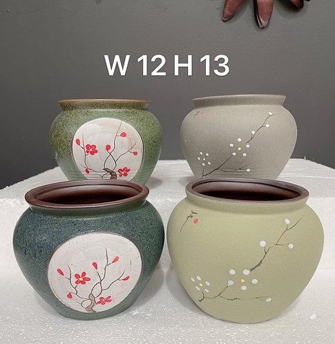 4pcs Medium Size Round Ceramic Succulents Pots Matte Japanese Style
