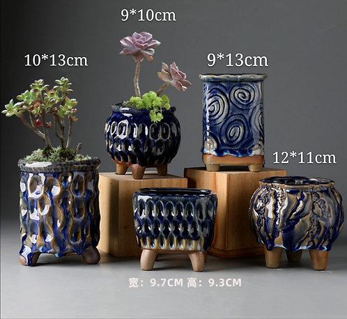 Set of 5 Cactus Succulents Pots Gloss Ceramic Navy Blue Glaze