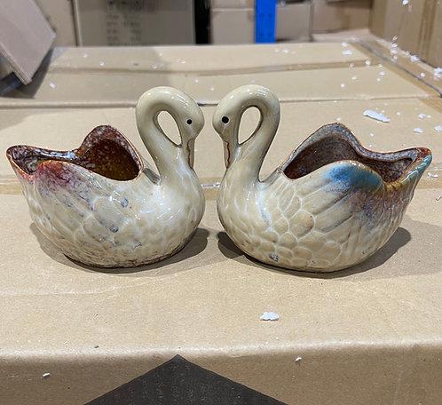 Pair of Swan Succulents Pots Gloss Glaze
