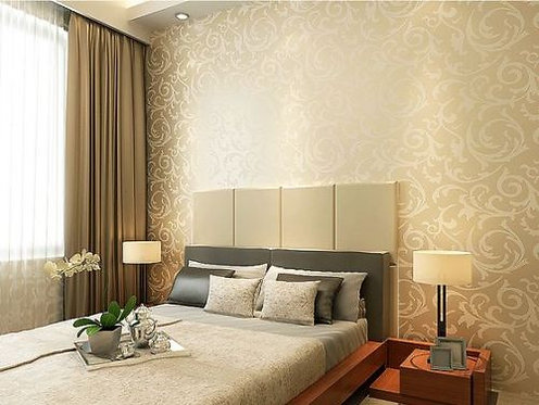 WALLPAPER ROLL DAMASK EMBOSSED FEATURE 3D BEIGE