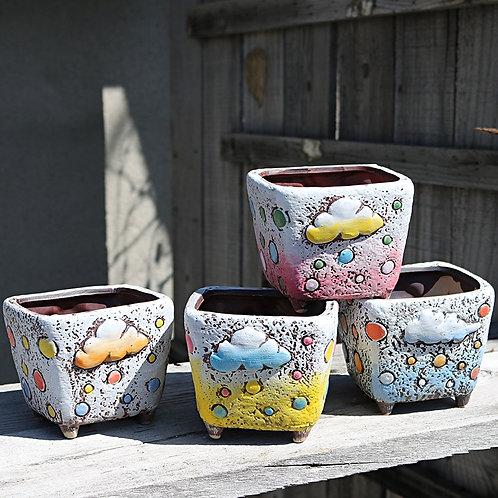 Set of 4 Hand Painted Square Flower Cacti Succulent Pots 10cm x 9cm