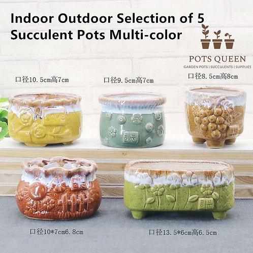 5 Designs Gloss Melting Glaze Cactus Succulent Pots Ceramic Flower Plant Pot