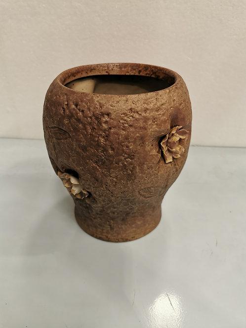 3D Flower Hand Painted Tall Ceramic Succulents Pots Vintage Brown #2