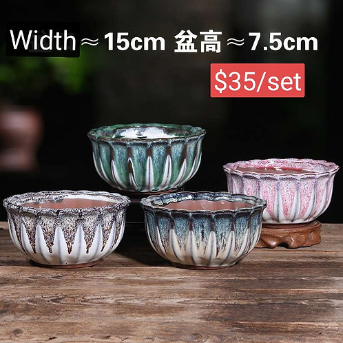 Set of 4 Large Hand painted Bowl shape Succulent pots 15cm width by 7.5cm height