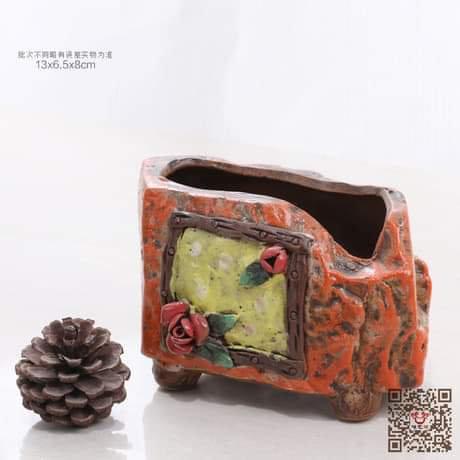 Hand Painted Orange Medium Succulent Pot 13cm x 8cm
