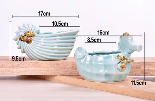 Pair Fine made Ceramic Conch Succulent pots Glaze 17cm x 11cm