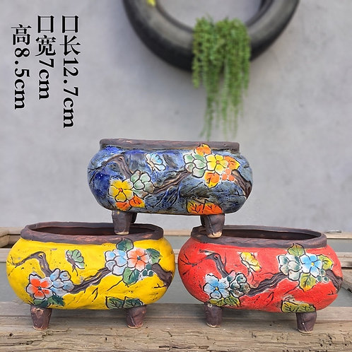 Set of 3 Hand Painted Plate Flower Cacti Succulent Pots Blue Red Yellow 12.7cm w