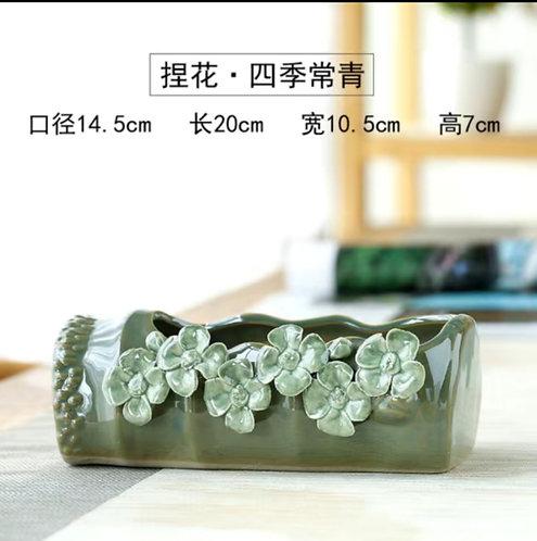 3D Flower Gloss Glaze Square Succulent / Cacti Pots 05 Green Long tray