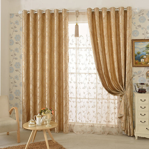 QUALITY BLOCKOUT EYELET CURTAINS GOLD LEAVES