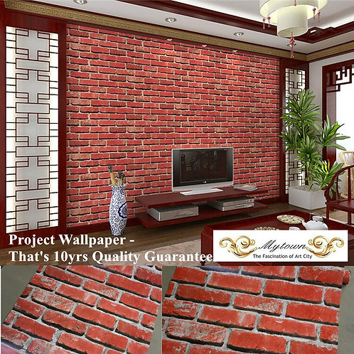 10m Red Brick Looking Wallpaper Roll Antique