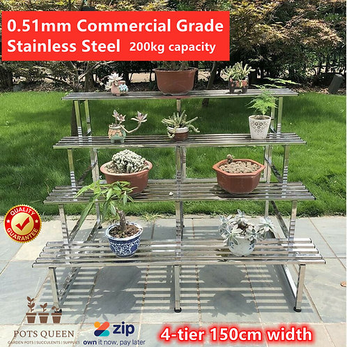 4-tier 150cm LARGE Garden Stainless Steel Pots Plant Stand Rack Chrome Outdoor
