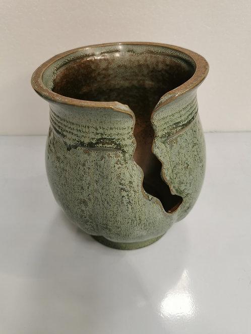 Cracking Design Tall Ceramic Succulents Pots Vintage Green