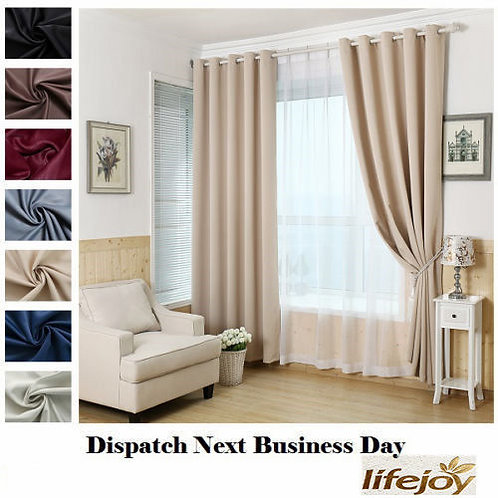LIGHT LATTE HIGH QUALITY BLOCKOUT EYELET CURTAIN