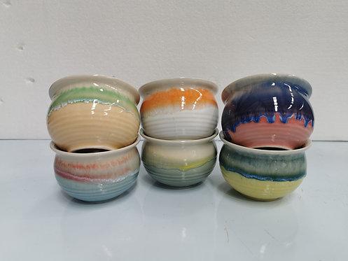 Set of 6 Glaze Painted Ceramic Succulents Pots Small #1