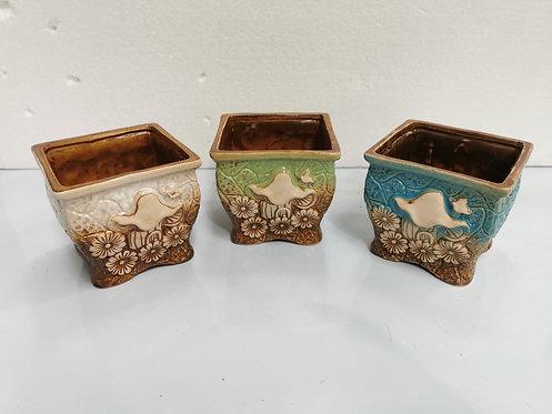 Set of 3 3D Hand Painted Ceramic Succulents Pots Square