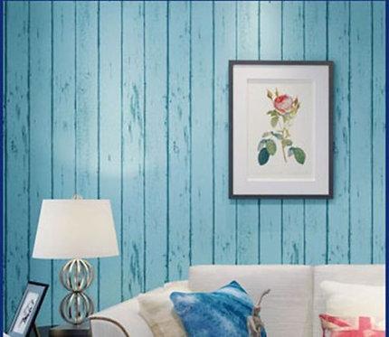 Wallpaper- Wood Timber Blue