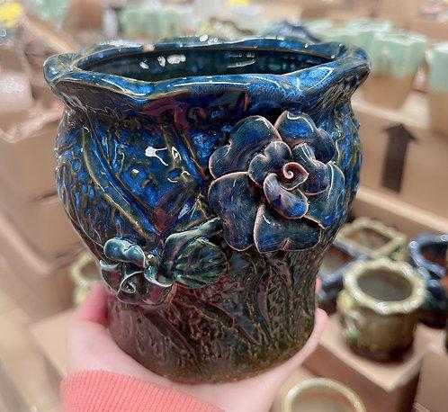 3D flower Ceramic Succulents Pots Gloss Glaze 14cm H x 13cm D x 13cm W Navy
