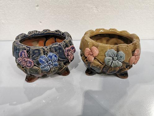 Pair 3D Flower Hand Painted Ceramic Round Succulents Pots Gloss Glaze #2