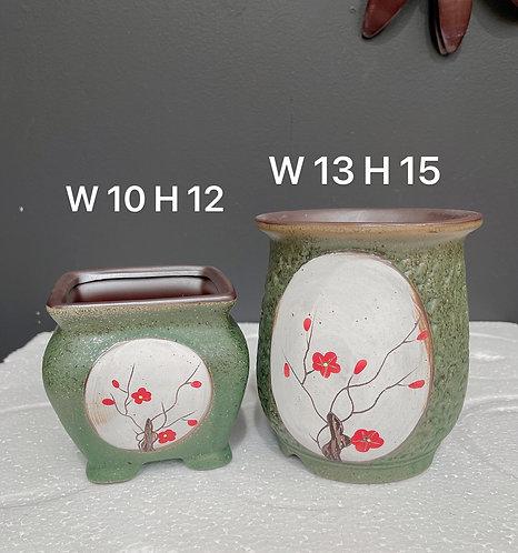 Pair Medium Size Round Square Ceramic Succulents Pots Sakura