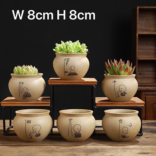 6pcs Small Hand Painted Ceramic Succulents Pots Chinese Style - Chan