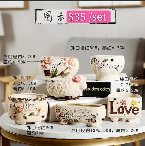 Garden Harvest Collection 6pcs Ceramic pots Beige 8 - 13cm Width