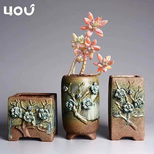 3D Flower Hand Painted Ceramic Succulents Pots Gloss Glaze #8
