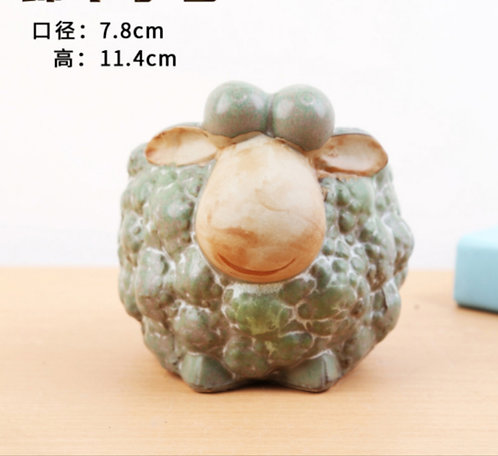 Animal Collection - Ceramic Succulents Pots Green Sheep 7.8x11.4cm