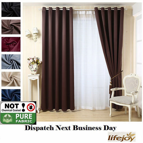 BROWN HIGH QUALITY BLOCKOUT EYELET CURTAIN