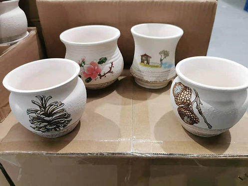 4 Snowy White Hand Painted Plate Flower Cacti Succulent Pots