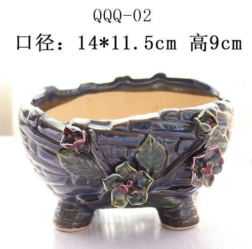 Gloss Glaze - 3D Flower Hand made Boat Navy