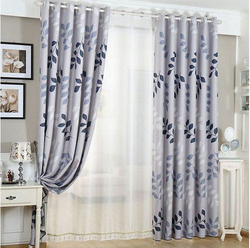 Blockout Eyelet Curtain Country Style Grey Leaves