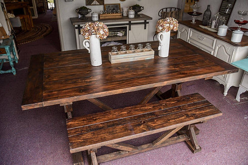 7ft Farm Table with Bench