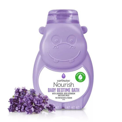 Earthwise Nourish Baby Bedtime Bath With Lavender, Rose Geranium And Goats Milk
