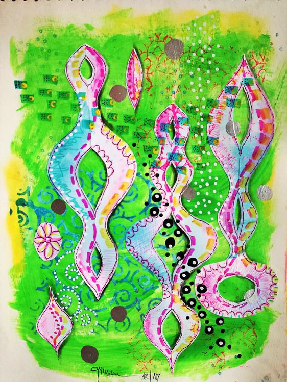 mixed media artwor mirror shapes green pink spring