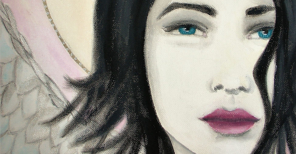 The Angels Collection - mixed media artwork, dreamy portratit of a girl