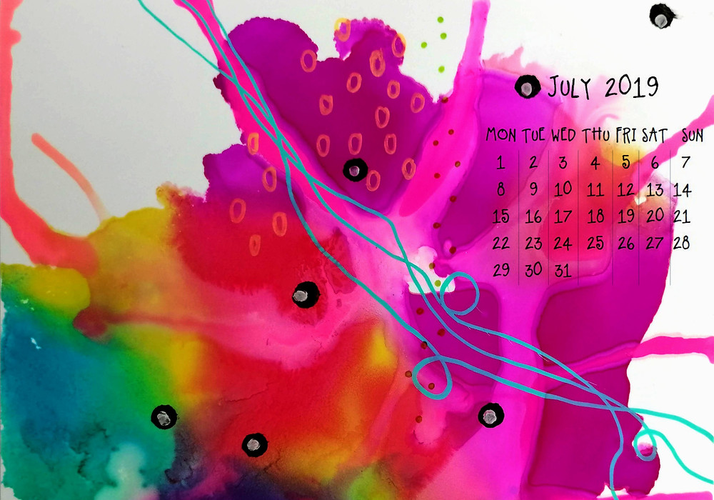 calendar june 2019 abstract painting ordered chaos
